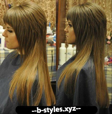 Стрижка на длинные волосы с шапочкой с челкой
