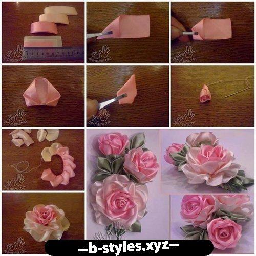 Изготовление цветов с атласных лент своими руками 73